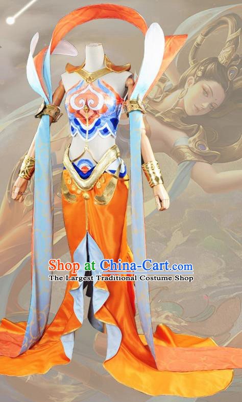 Chinese Cosplay Game Fairy Princess Orange Dress Traditional Ancient Female Swordsman Costume for Women