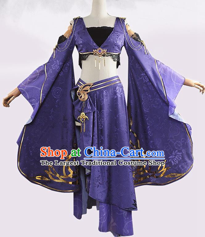 Chinese Cosplay Game Fairy Princess Purple Dress Traditional Ancient Female Swordsman Costume for Women
