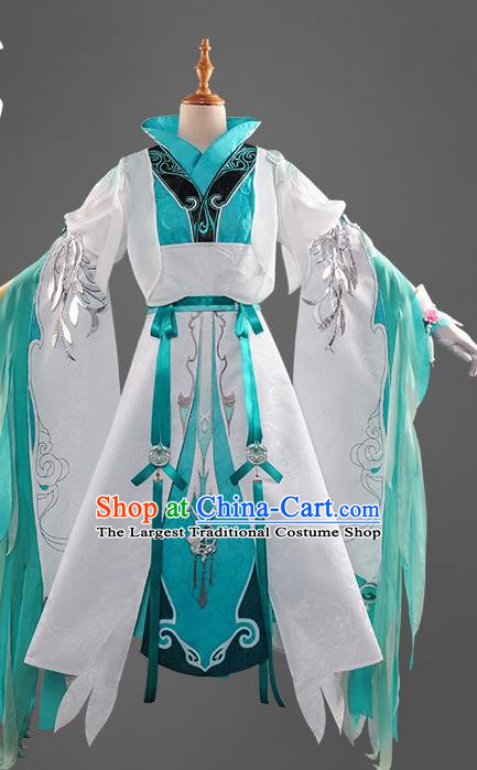 Chinese Cosplay Game Princess Blue Dress Traditional Ancient Female Swordsman Costume for Women
