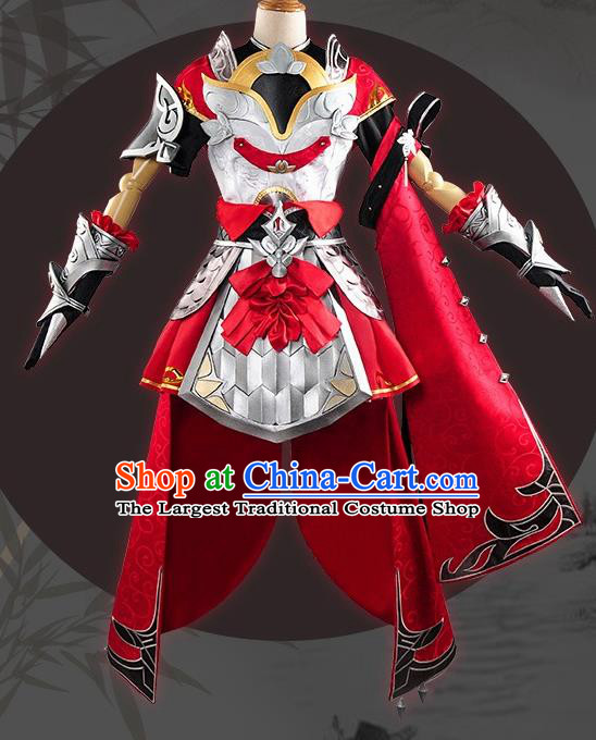 Chinese Cosplay Game General Red Dress Traditional Ancient Female Swordsman Costume for Women