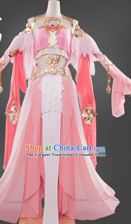 Chinese Cosplay Game Fairy Princess Pink Dress Traditional Ancient Female Swordsman Costume for Women