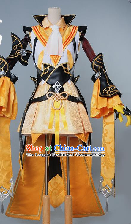 Chinese Cosplay Game Fairy Golden Dress Traditional Ancient Female Swordsman Costume for Women