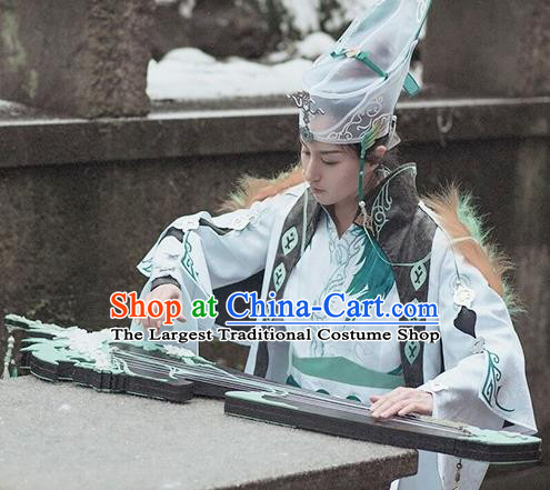 Chinese Cosplay Taoist Swordsman White Hanfu Clothing Traditional Ancient Knight Costume for Men