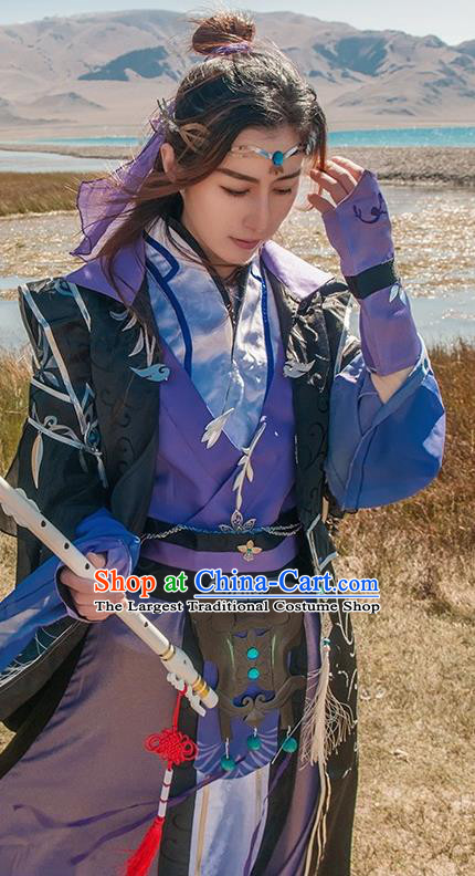 Chinese Cosplay Game Taoist Nun Purple Dress Traditional Ancient Female Swordsman Costume for Women