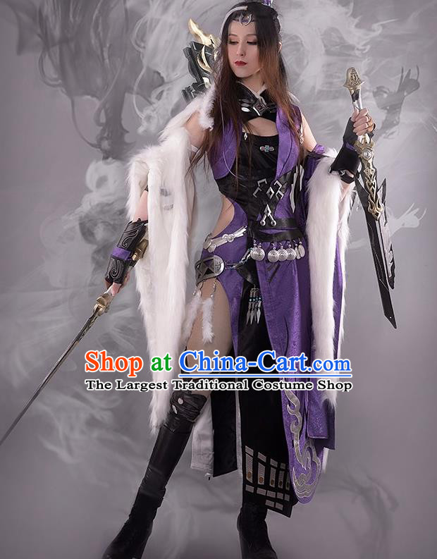 Chinese Cosplay Game Female Knight Dress Traditional Ancient Swordsman Costume for Women