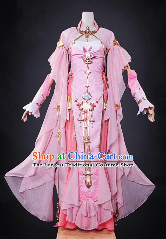 Chinese Cosplay Game Imperial Consort Pink Dress Traditional Ancient Swordsman Costume for Women