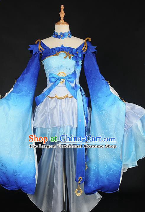 Chinese Cosplay Game Fairy Deep Blue Dress Traditional Ancient Swordsman Costume for Women