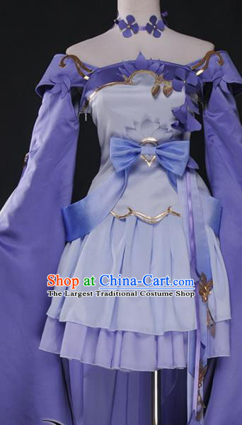 Chinese Cosplay Game Fairy Light Purple Dress Traditional Ancient Swordsman Costume for Women