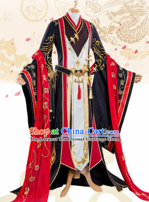 Chinese Cosplay King Swordsman Black Hanfu Clothing Traditional Ancient Knight Costume for Men