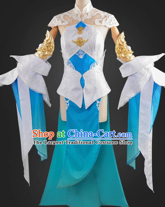 Chinese Cosplay Game Fairy Princess Blue Dress Traditional Ancient Female Swordsman Costume for Women