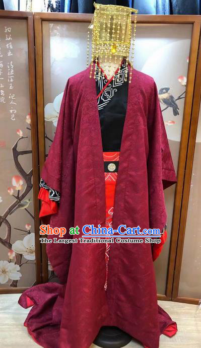 Chinese Ancient Han Dynasty Emperor Costumes Traditional Stage Performance Clothing for Men