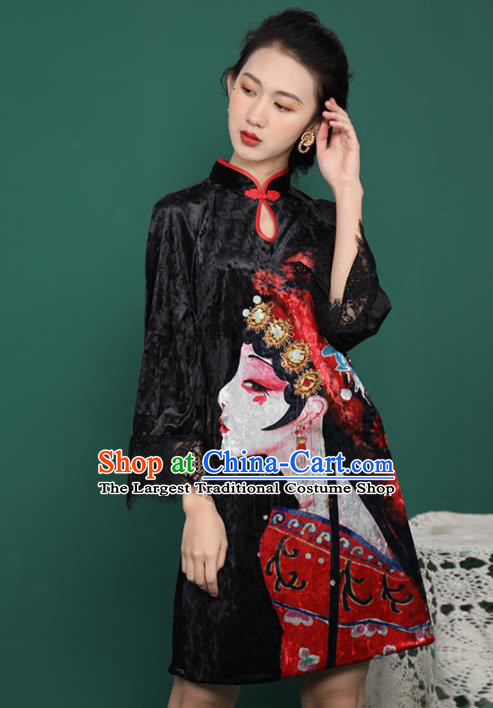 Chinese Traditional Compere Printing Black Velvet Cheongsam Costume China National Qipao Dress for Women