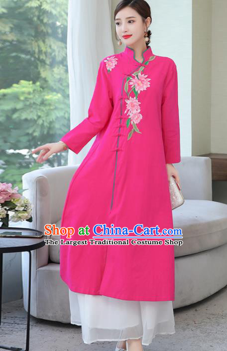 Chinese Traditional Embroidered Rosy Cotton Slubbed Cheongsam Costume China National Qipao Dress for Women