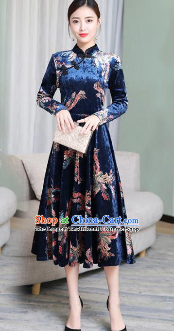 Chinese Traditional Printing Deep Blue Velvet Mother Cheongsam Costume China National Qipao Dress for Women