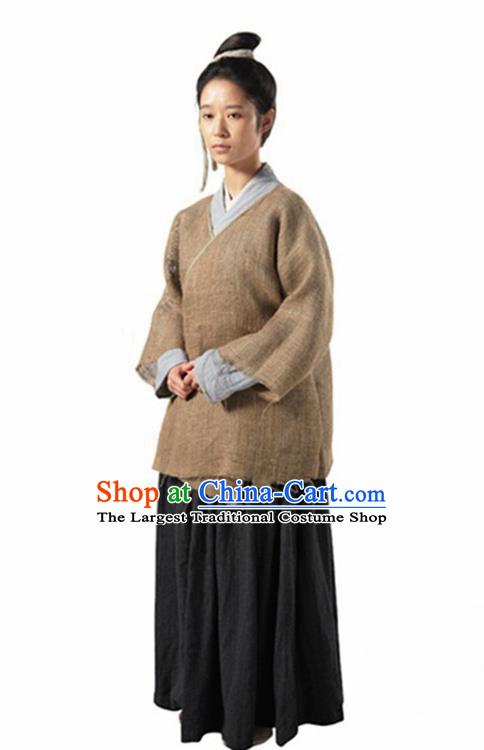 Chinese Traditional Song Dynasty Female Civilian Costume Ancient Maidservants Hanfu Dress for Women