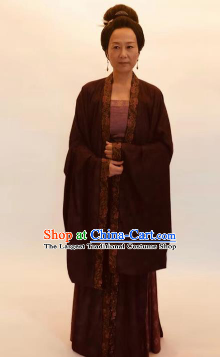 Chinese Traditional Song Dynasty Dowager Countess Costume Ancient Female Civilian Hanfu Dress for Women