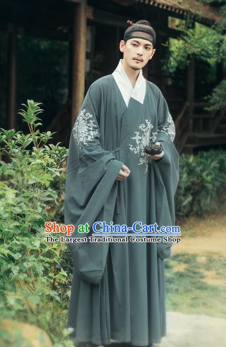 Chinese Ancient Taoist Priest Atrovirens Embroidered Robe Traditional Ming Dynasty Scholar Costumes for Men