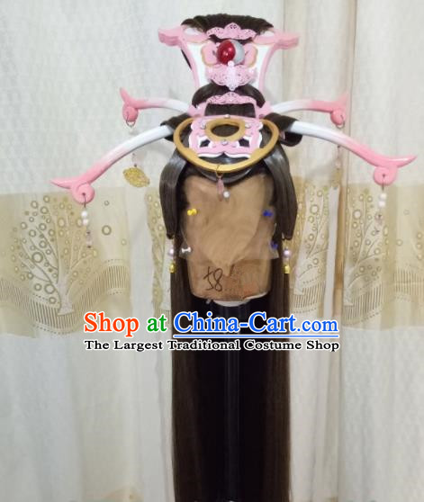 Chinese Cosplay Imperial Consort Brown Wigs Ancient Female Swordsman Hair Chignon and Accessories for Women