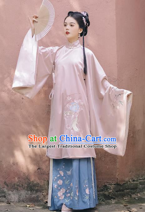 Chinese Ancient Rich Lady Embroidered Pink Gown and Skirt Traditional Ming Dynasty Court Costumes for Women