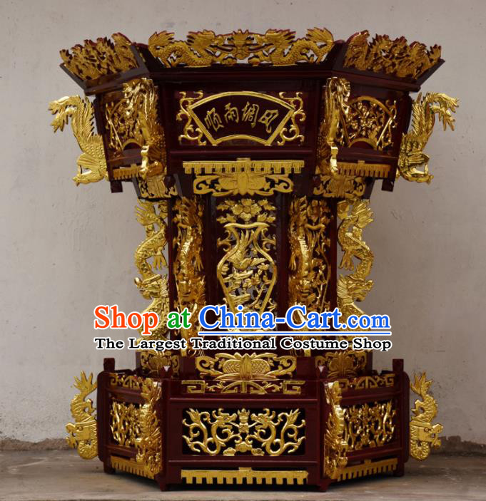 Chinese Traditional Handmade Camphorwood Lantern Carving Wood Dragon Head Palace Lamp