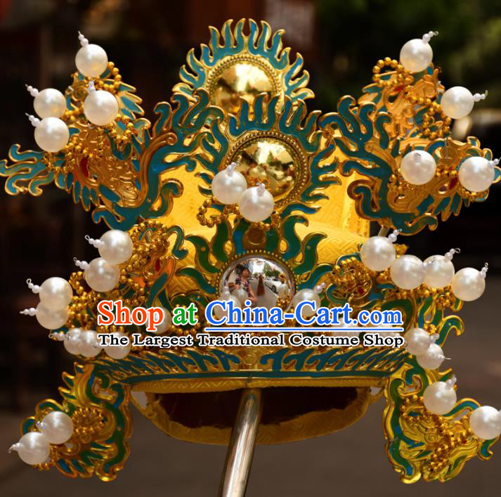 Chinese Traditional Beijing Opera Golden Hat Ancient Emperor Headwear
