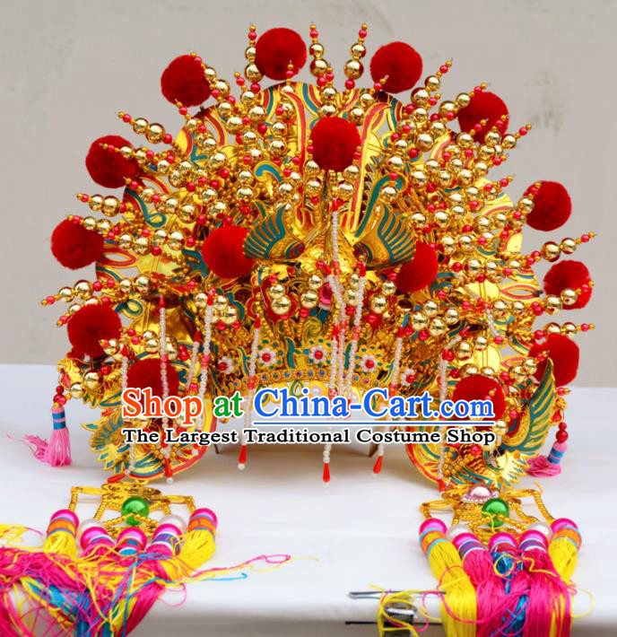 Chinese Traditional Goddess Red Venonat Phoenix Coronet Bodhisattva Hat Hair Accessories