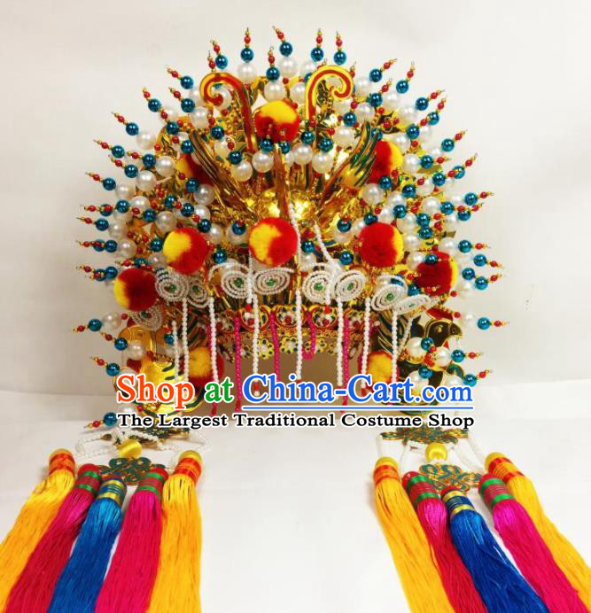 Chinese Traditional Beijing Opera Goddess Golden Venonat Phoenix Coronet Bodhisattva Hat Hair Accessories