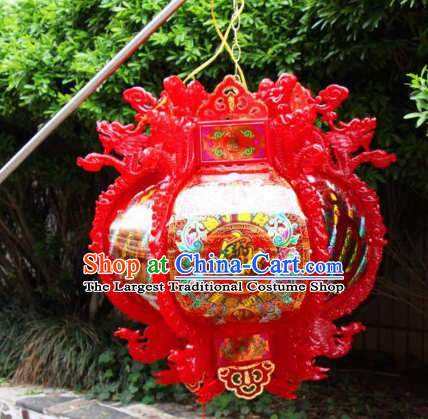 Chinese Traditional Handmade Red Dragon Phoenix Ceiling Lantern New Year Palace Lamp