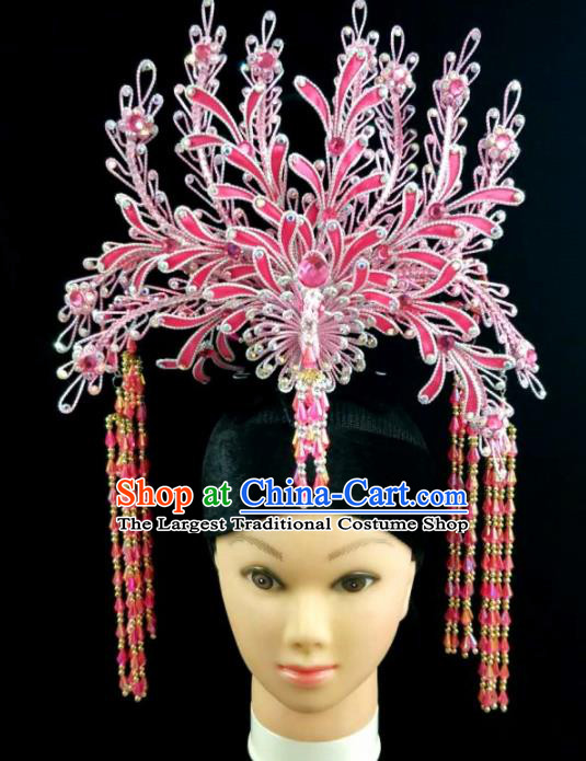 Chinese Traditional Peking Opera Princess Pink Phoenix Hairpins Handmade Beijing Opera Diva Hair Accessories for Women