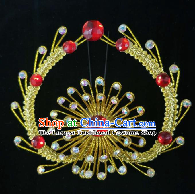 Chinese Traditional Peking Opera Princess Golden Hairpins Handmade Beijing Opera Diva Hair Accessories for Women