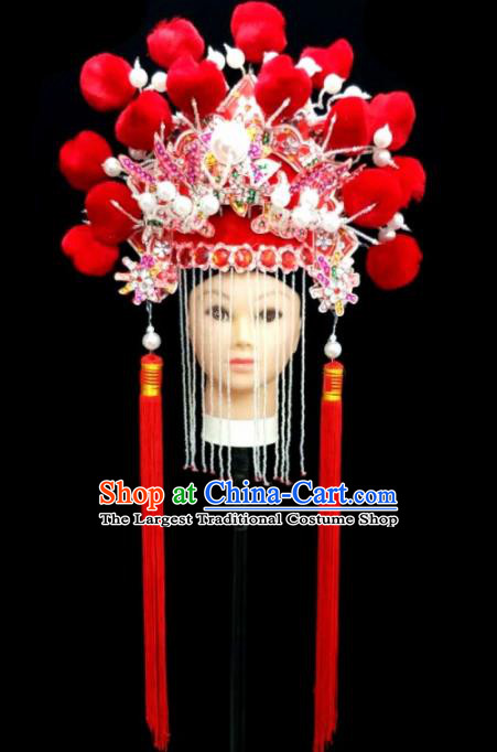 Chinese Traditional Peking Opera Queen Red Hat Handmade Beijing Opera Diva Hair Accessories for Women
