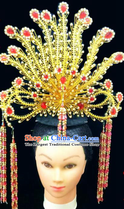 Chinese Traditional Peking Opera Queen Red Crystal Phoenix Coronet Hairpins Handmade Beijing Opera Diva Hair Accessories for Women