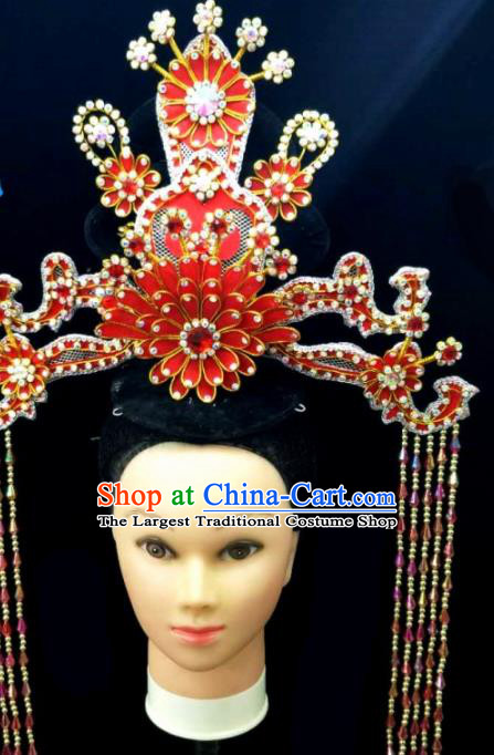 Chinese Traditional Peking Opera Queen Red Lotus Phoenix Coronet Hairpins Handmade Beijing Opera Diva Hair Accessories for Women