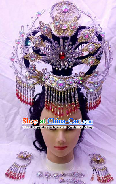 Chinese Traditional Peking Opera Empress Phoenix Crown Hairpins Handmade Beijing Opera Diva Hair Accessories for Women