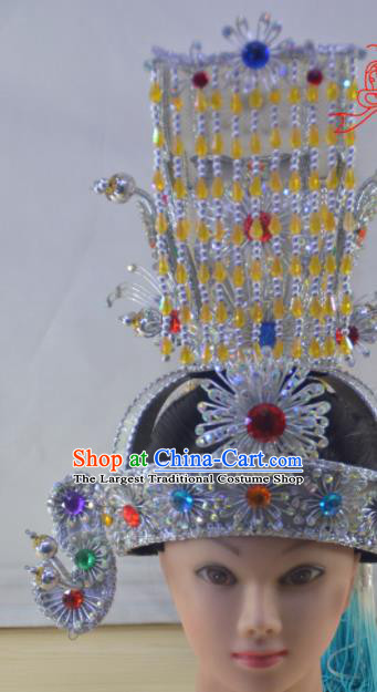 Chinese Traditional Peking Opera Emperor Hat Handmade Ancient Crown Prince Headwear for Men