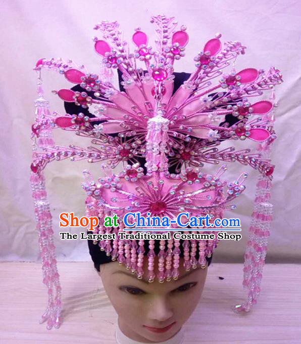 Chinese Traditional Peking Opera Pink Hairpins Phoenix Coronet Handmade Beijing Opera Diva Hair Accessories for Women