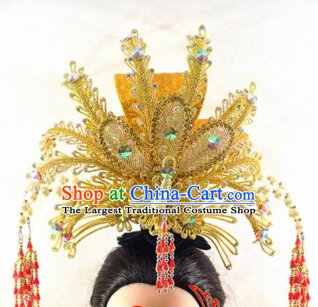Chinese Traditional Peking Opera Princess Golden Phoenix Crown Handmade Ancient Court Lady Hair Accessories for Women