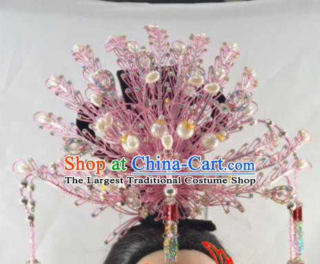 Chinese Traditional Peking Opera Princess Pink Phoenix Crown Handmade Ancient Court Lady Hair Accessories for Women