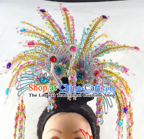 Chinese Traditional Peking Opera Princess Colorful Phoenix Crown Handmade Ancient Court Lady Hair Accessories for Women