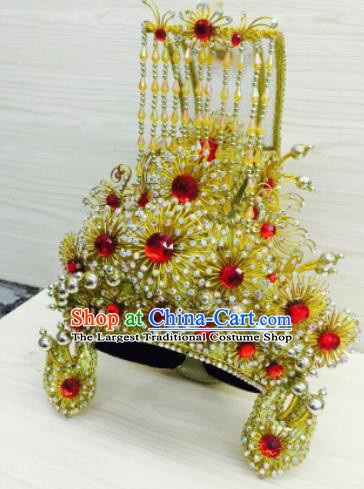 Chinese Traditional Peking Opera King Golden Hat Handmade Ancient Royal Emperor Headwear for Men