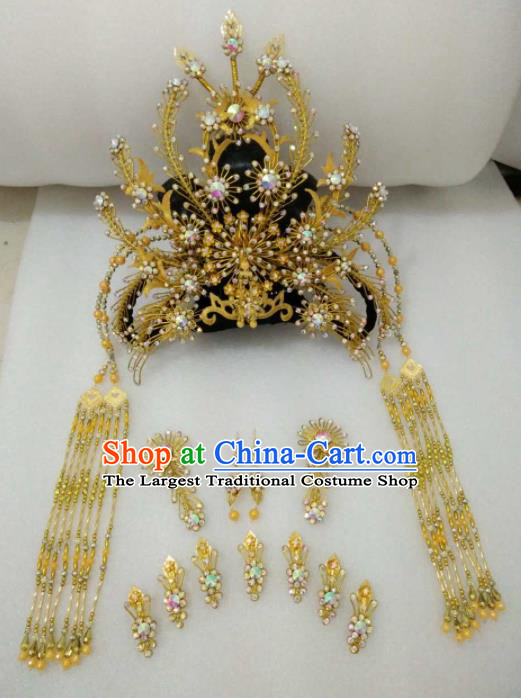 Chinese Traditional Peking Opera Golden Hairpins Phoenix Coronet Handmade Beijing Opera Diva Hair Accessories for Women