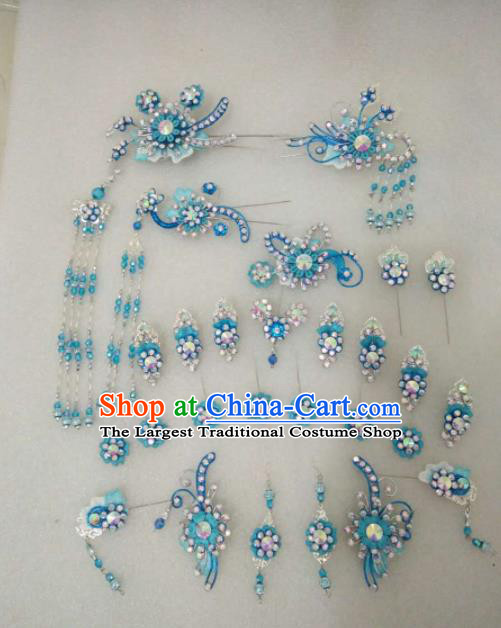 Chinese Traditional Peking Opera Blue Hairpins Handmade Beijing Opera Diva Hair Accessories for Women