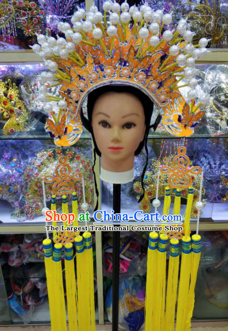 Chinese Traditional Peking Opera Queen Yellow Phoenix Coronet Hat Handmade Beijing Opera Hair Accessories for Women
