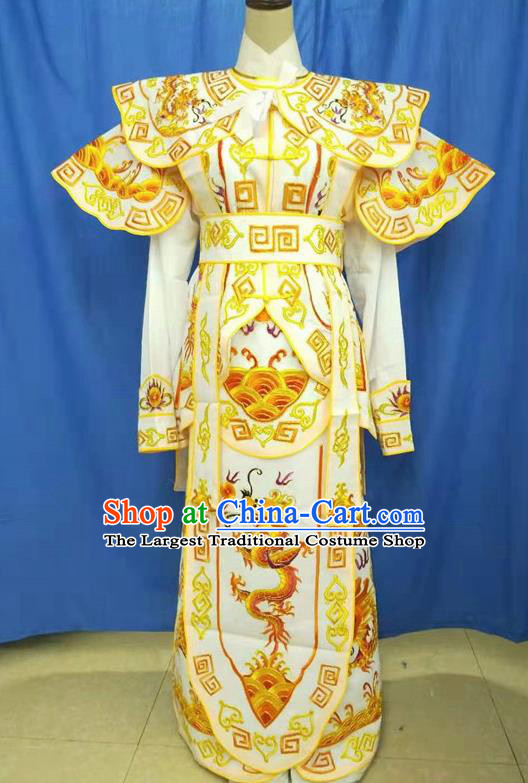 Chinese Traditional Peking Opera Takefu Yellow Embroidered Kao Costume Handmade Ancient Swordsman Clothing for Men