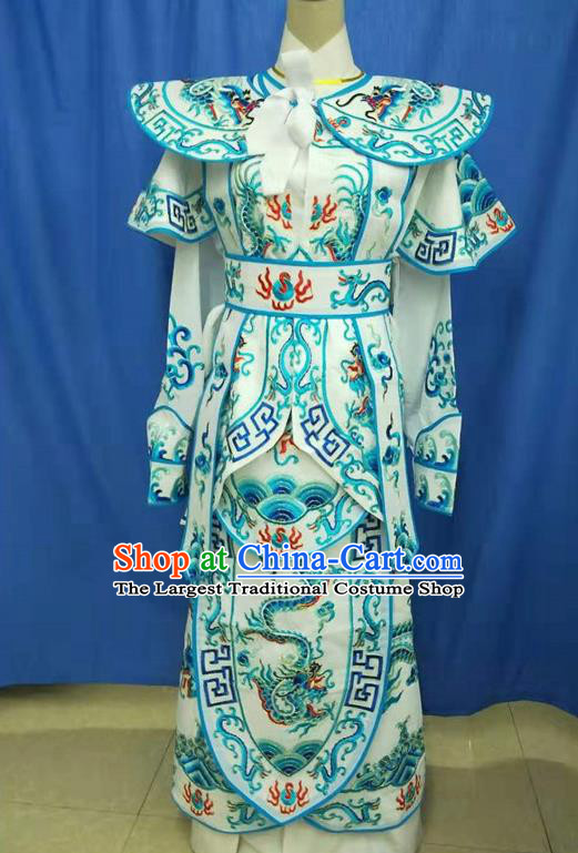 Chinese Traditional Peking Opera Takefu Blue Embroidered Kao Costume Handmade Ancient Swordsman Clothing for Men