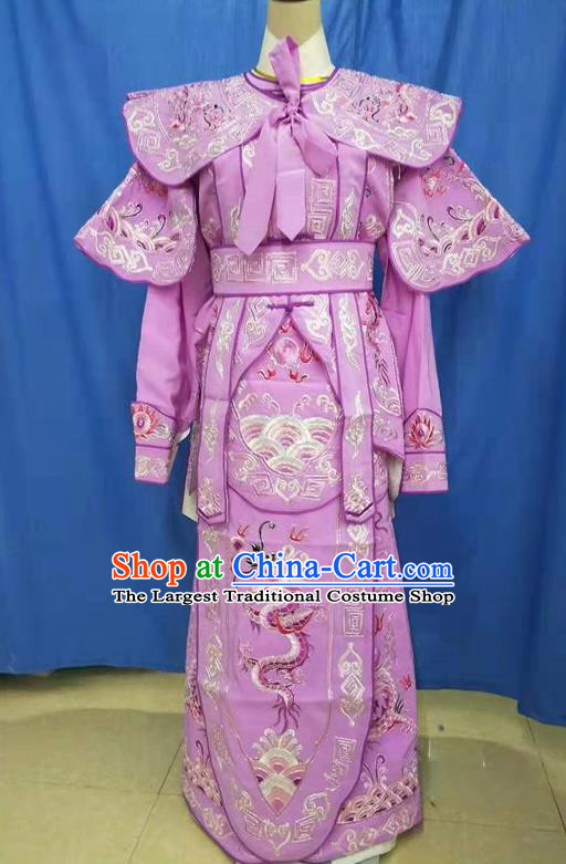 Chinese Traditional Peking Opera Takefu Embroidered Lilac Kao Costume Handmade Ancient Swordsman Clothing for Men