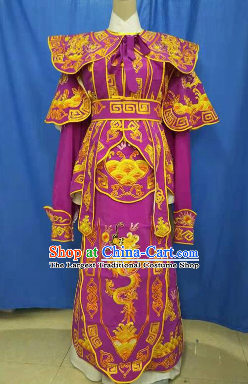 Chinese Traditional Peking Opera Takefu Embroidered Purple Kao Costume Handmade Ancient Swordsman Clothing for Men