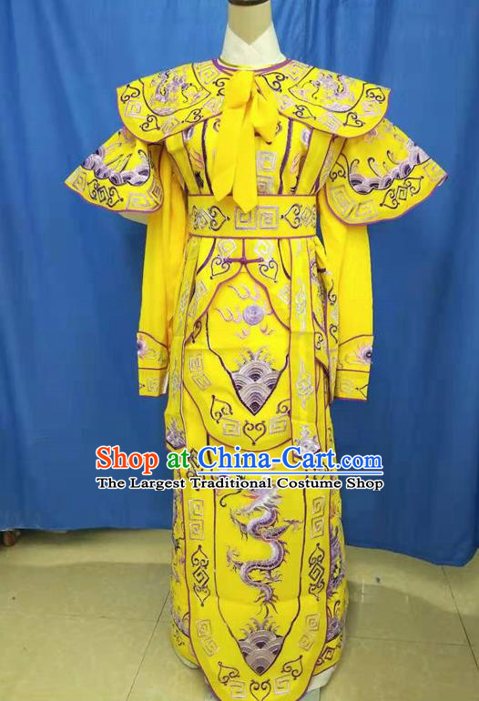 Chinese Traditional Peking Opera Takefu Embroidered Yellow Kao Costume Handmade Ancient Swordsman Clothing for Men