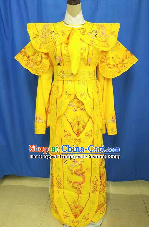 Chinese Traditional Peking Opera Takefu Embroidered Yellow Dragon Kao Costume Handmade Ancient Swordsman Clothing for Men