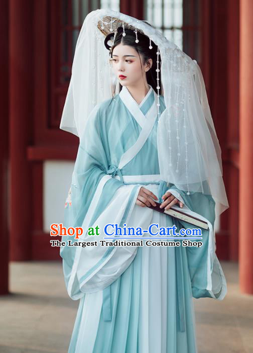 Chinese Ancient Female Swordsman Embroidered Green Hanfu Dress Traditional Jin Dynasty Nobility Lady Costumes for Women